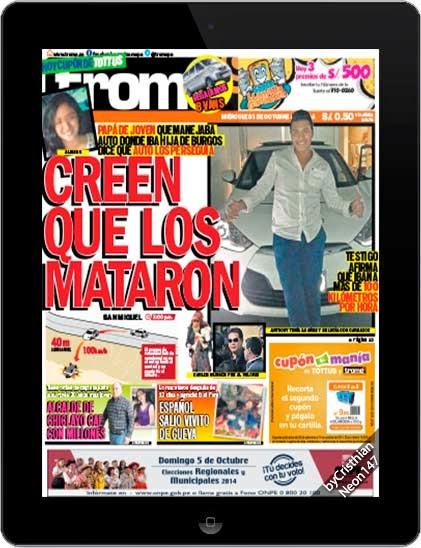Diario Trome Perú (01 Octubre 2014) ESPAÑOL - Creen que los mataron, papá de joven que manejaba auto donde iba hija de Burgos dice que auto los perseguía