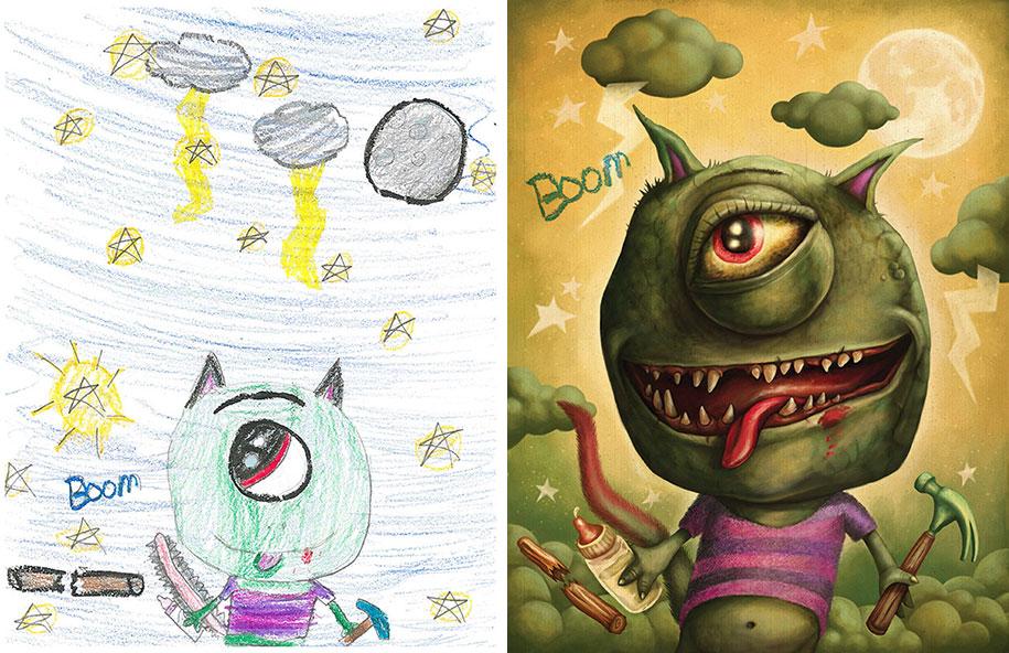 mais de 100 artistas recriam desenhos de crianças de monstros