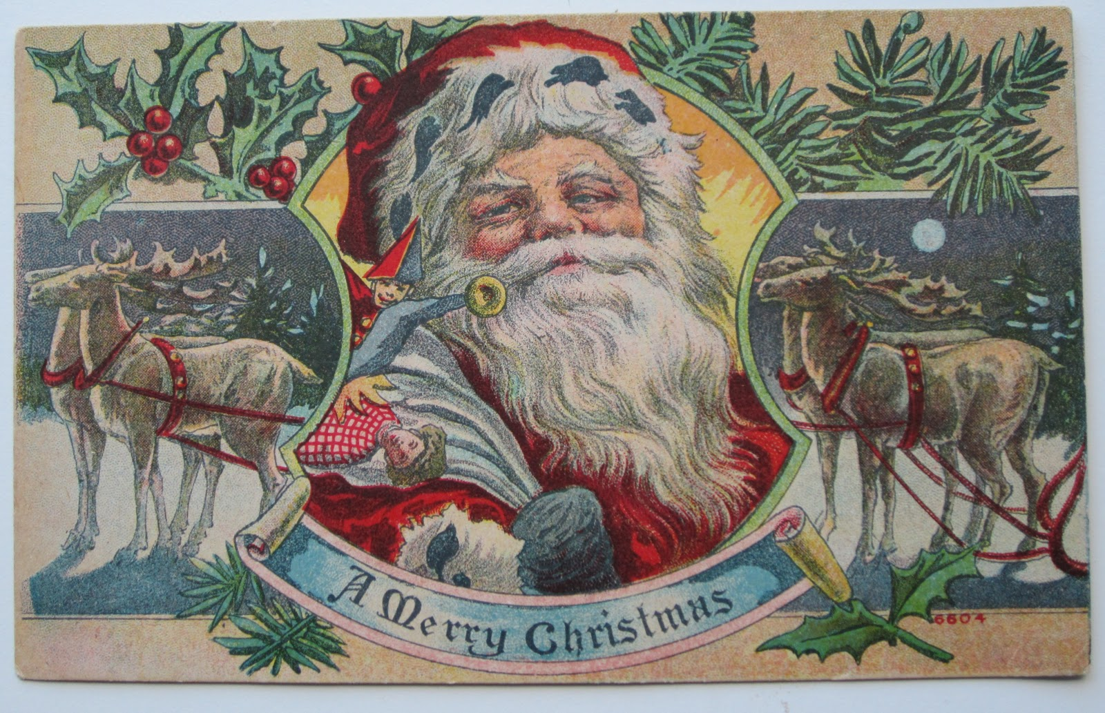 santa claus wishing you a merry christmas antique postcard