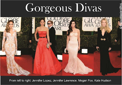 celebrities-golden globes-2013-female celebrities-Jennifer Lopez-Jennifer Lawrence-Megan Fox-Kate Hudson-Red Carpet