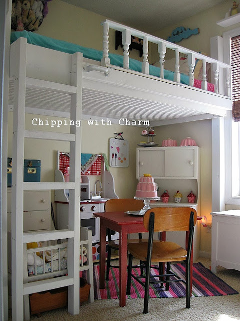 Chipping with Charm:  Getting Organized with Junk, Small Space Lofted Cottage Bed...http://chippingwithcharm.blogspot.com/