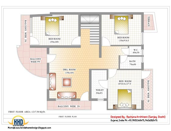 India house plan - First floor plan - 2435 Sq.Ft.