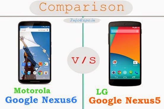 Motorola Google Nexus 6 versus LG GOOGLE NEXUS 5 specifications and features comparison RAM,Display,Processor,Memory,Battery,camera,connectivity,