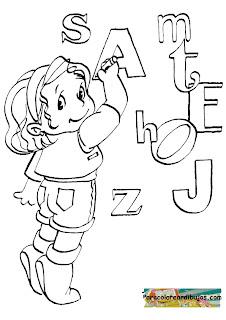 niña escribiendo para colorear