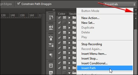 Insert Path command from Actions panel in Photoshop