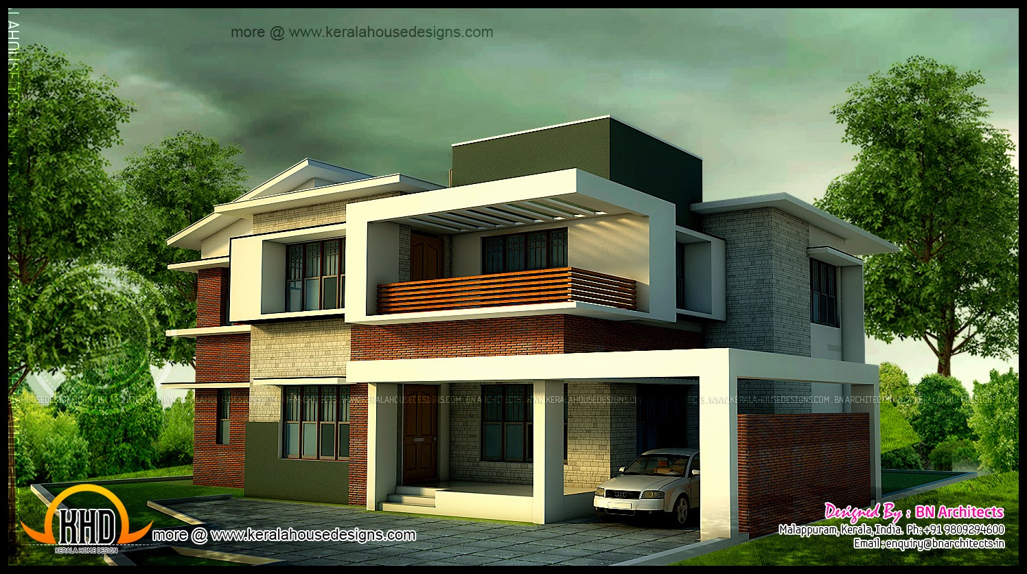Bedroom modern home in 3440 sq feet floor plan included kerala