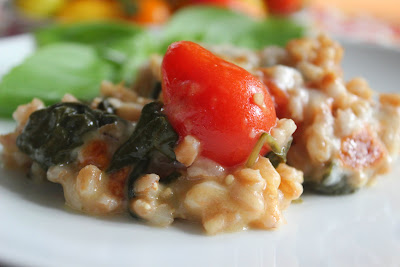 Roasted tomato farro bake