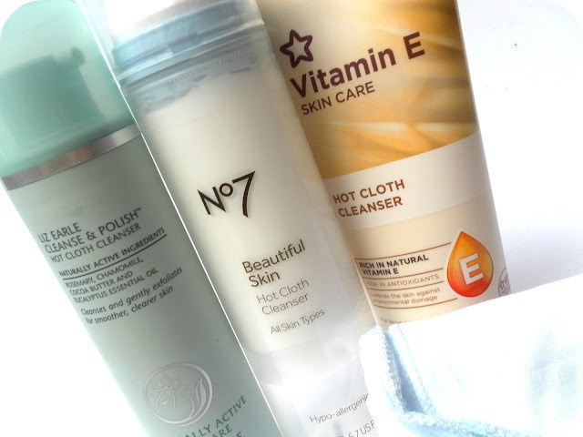 A picture of Liz Earle Cleanse & Polish, No7 Beautiful Skin Hot Cloth Cleanser and Superdrug Vitamin E Hot Cloth Cleanser