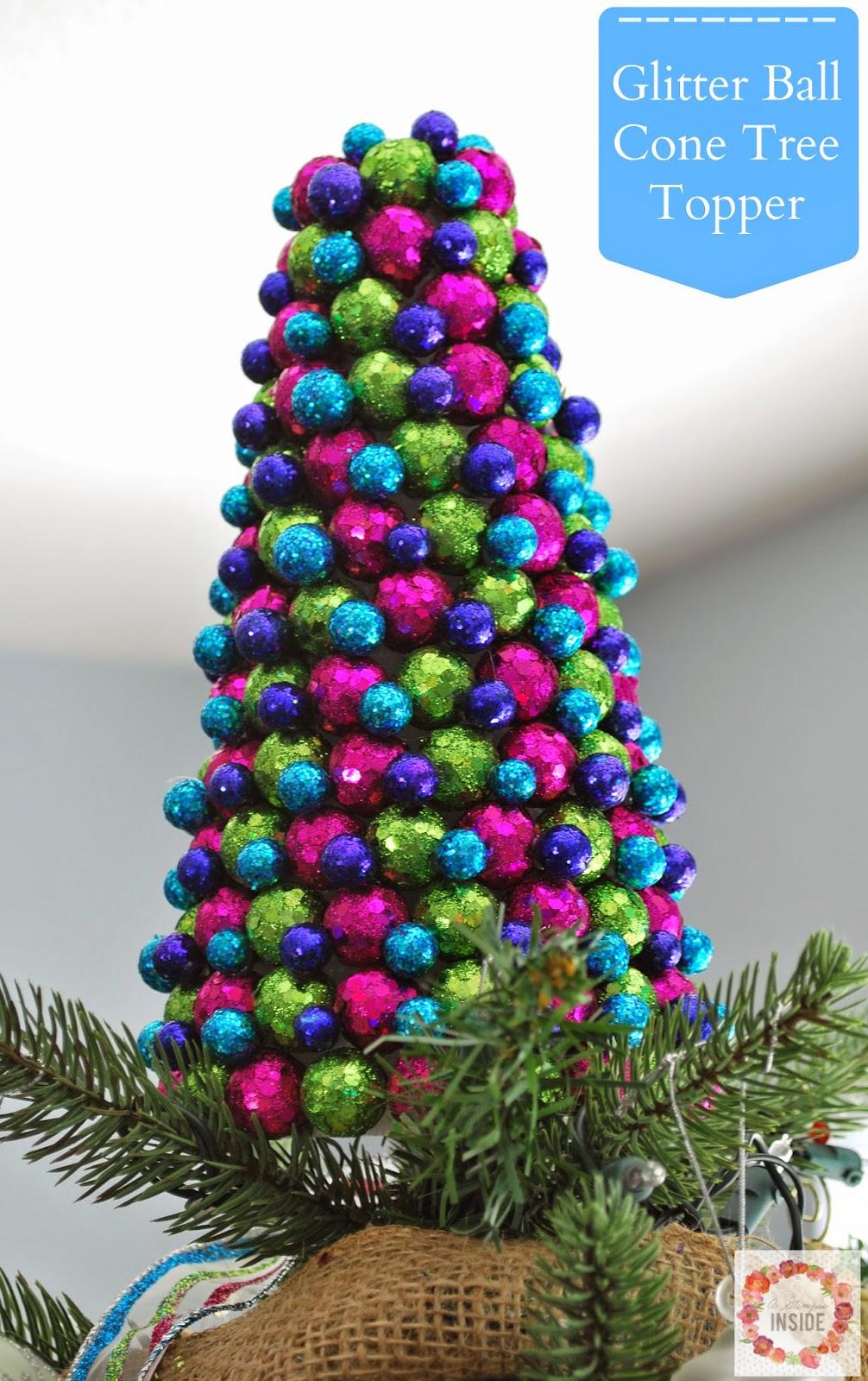http://www.aglimpseinsideblog.com/2014/12/glitter-ball-cone-tree-topper.html