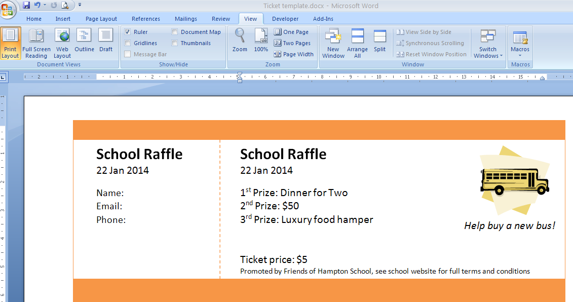 Create Your Basic Numbered Raffle Ticket Template In Word  Dinner Tickets Template