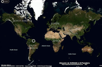 Ubicación de SURINAM en El Planisferio (VA bing)