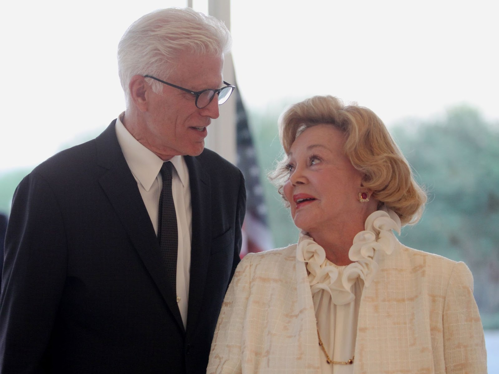 Actor Ted Danson talks to Barbara Sinatra before the start of the Prince Albert II of Monaco Foundation Awards held at Sunnylands on Sunday