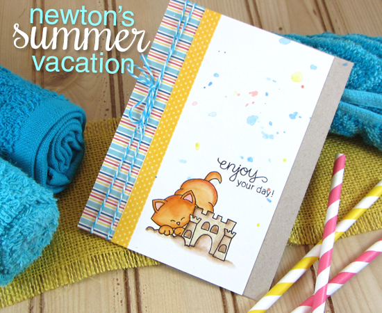 Kitty and Sandcastle Card by Jennifer Jackson using Newton's Summer Vacation Cat Stamp set by Newton's Nook Designs