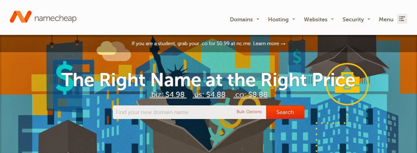 finding domain box in namecheap.com