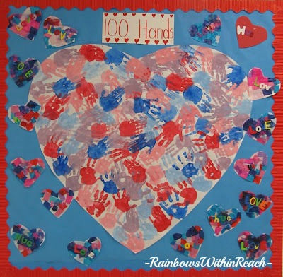 photo of: 100 Day Bulletin Boards with 100 Painted HandPrints in a Heart Collaboration