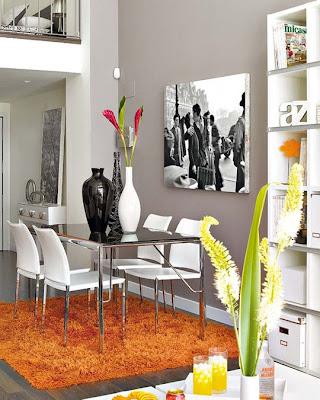 interior loft acentos naranjas