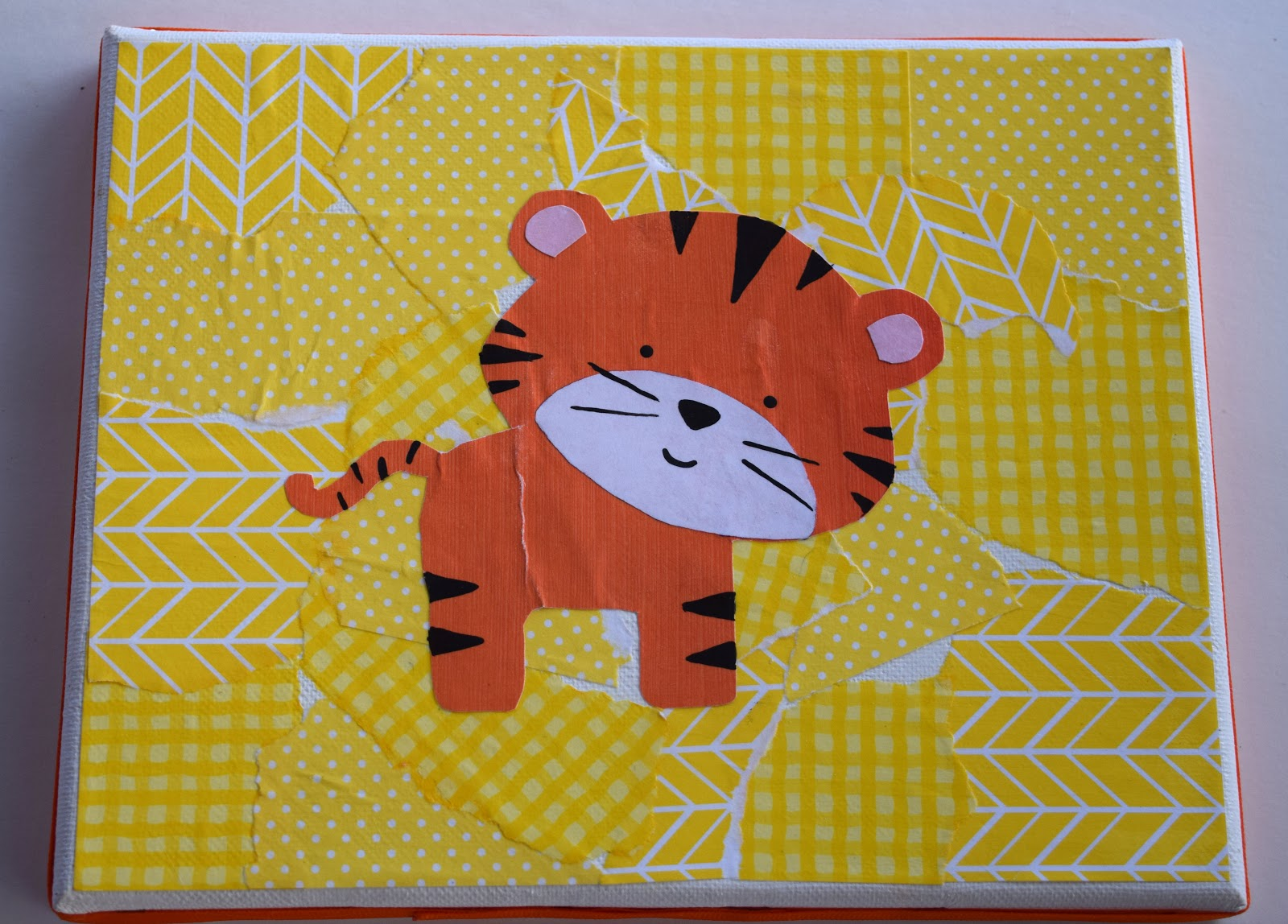 Scrapbook paper art ideas - We Again Used Mod Podge To Attach The Actual Hippo Black Buttons Were Hot Glued On For Eyes And Nostrils It Was Very Hard To Let Go Of The Hippo Canvas