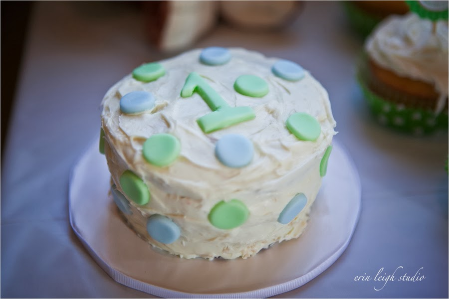 smash cake - blue, green dots