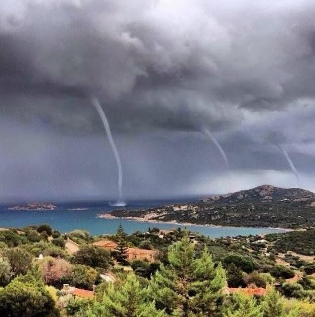 Любительский кадр, тройное торнадо на острове Сардиния