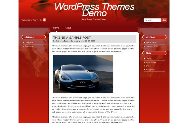 Free Dark Red Fire Flame Wordpress Theme Template