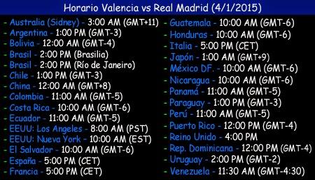 Valencia vs real madrid jornada 17 liga bbva 4 01 2015 for A que hora juega el real madrid