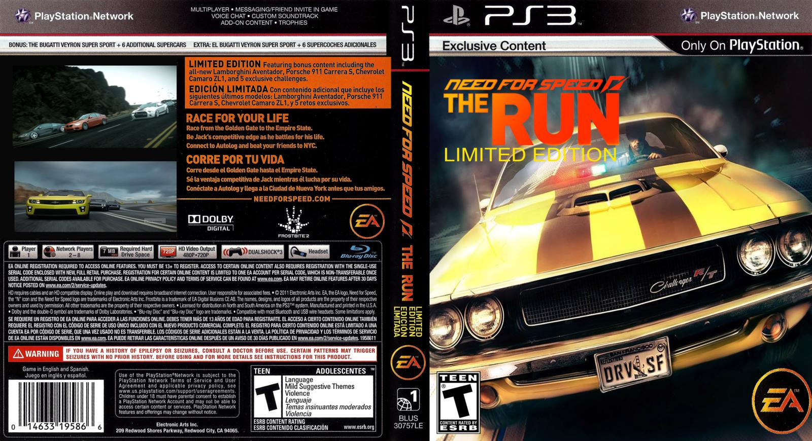 Capa Need For Speed The Run Limited Edition PS3 ~ Gamecover | Download