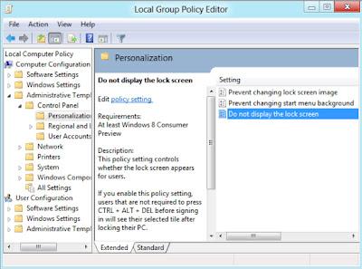 Thủ thuật để Tắt màn hình khóa trong Windows 8?