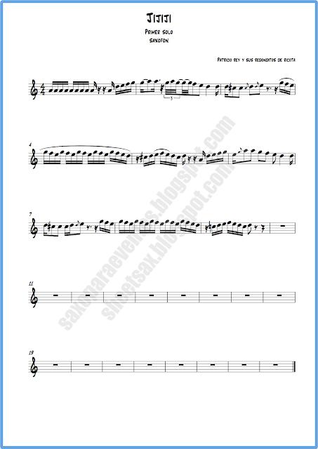 Partitura de jijiji para saxo