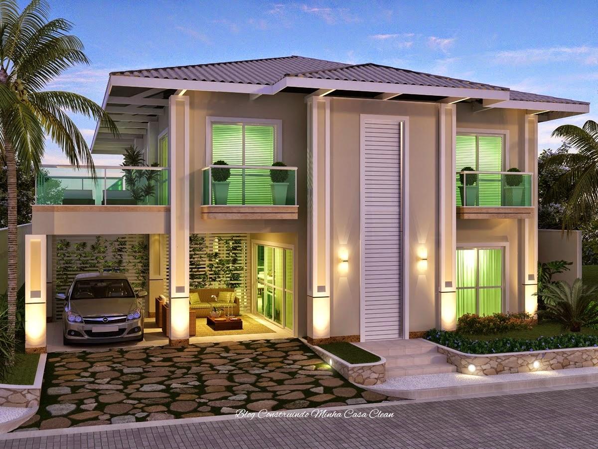 Construindo minha casa clean fachadas de casas com portas for Casas modernas lindas