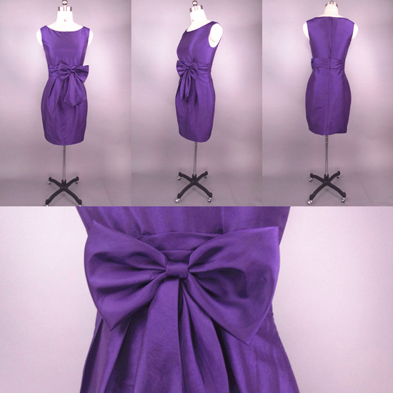 Short Taffeta Bateau Bridesmaid Dress With A Big Bowknot