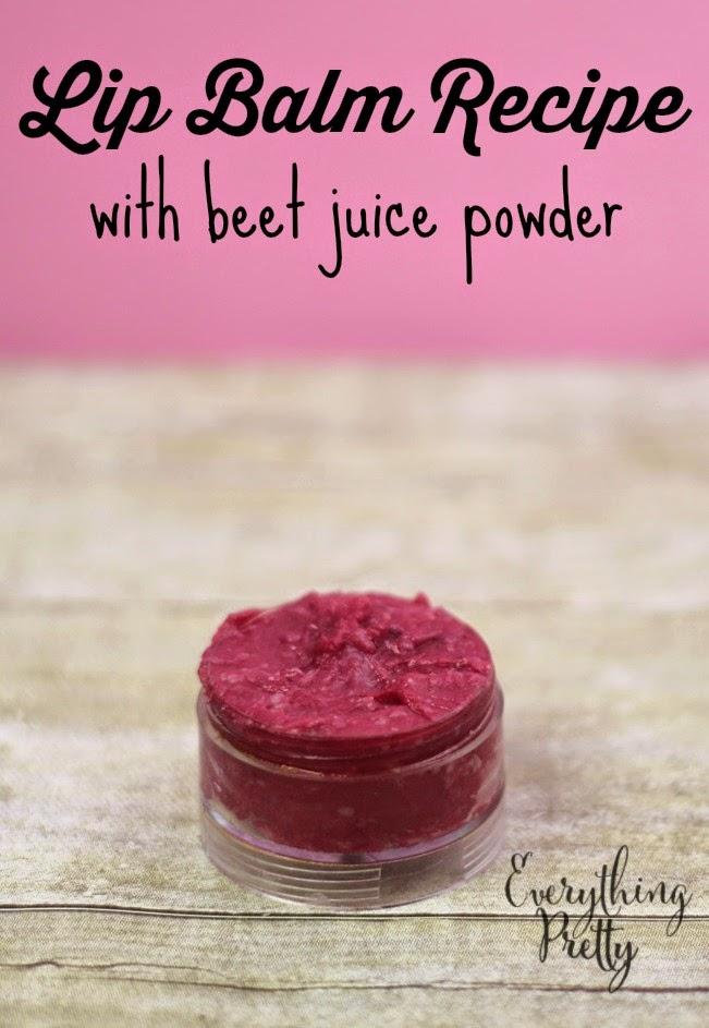 Natural tinted lip balm recipe with beet juice powder.