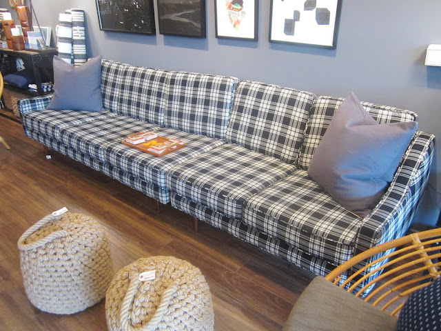 super long, 1970s reproduction black and white plaid sofa