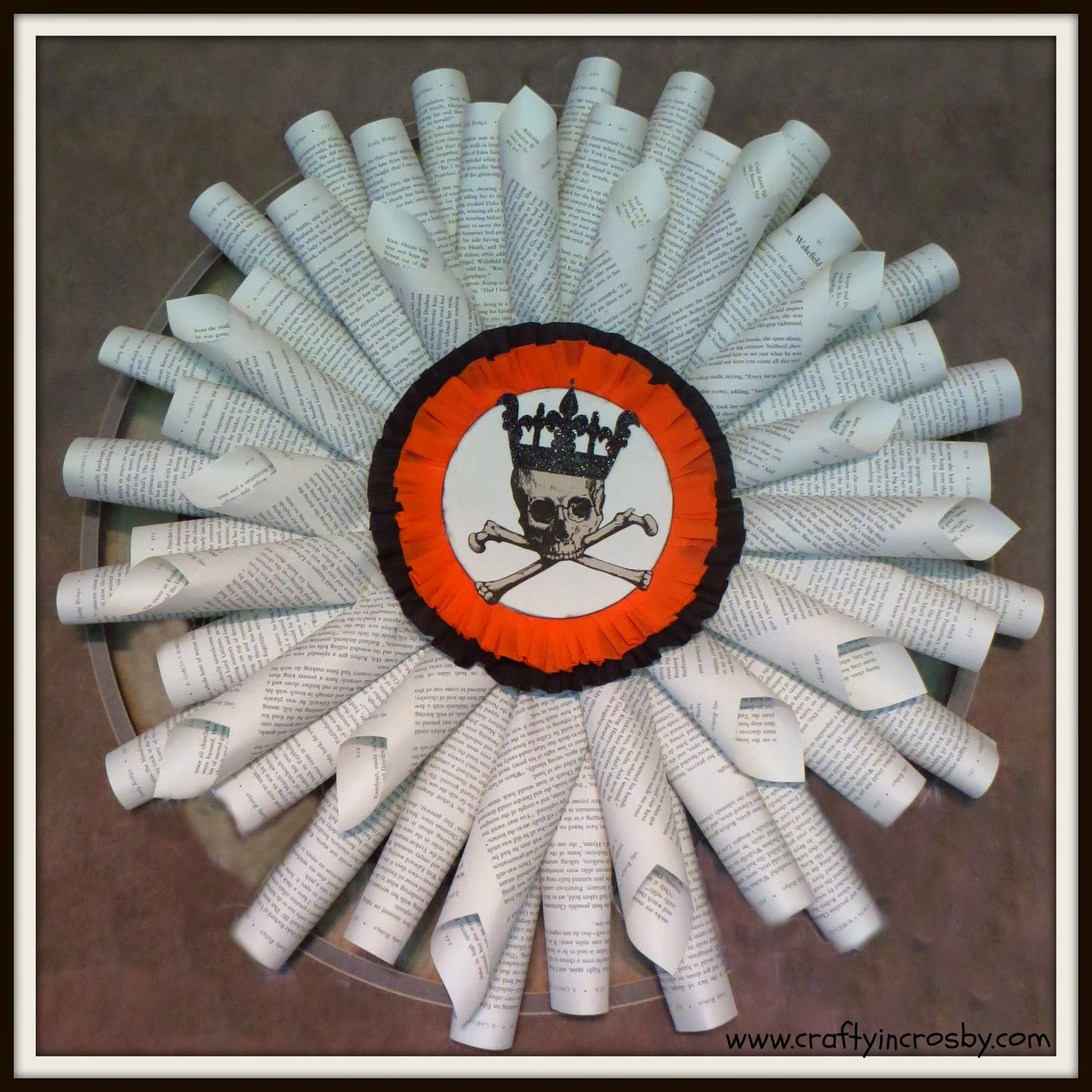 french paper wreath halloween decorations paper crafting skull and crossbones skeleton