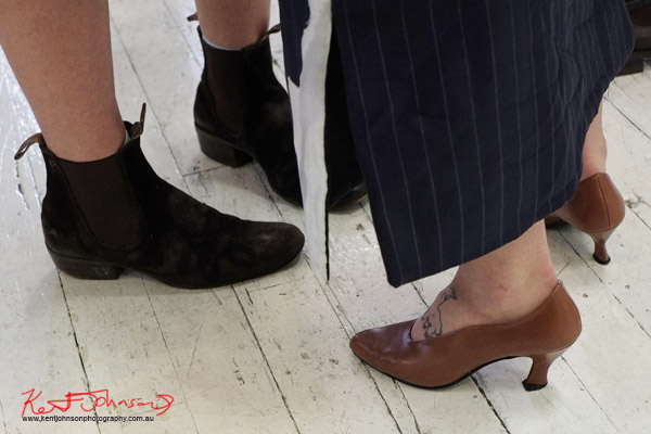 Vintage black suede RM Williams Cuban heel women's boots, brown court shoe low heel, lamb tattoo on foot. Street Fashion Sydney by Kent Johnson.