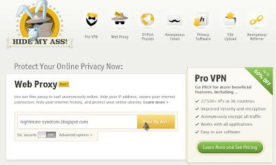 Masuk ke hidemyass.com , isikan URL yang ingin dibuka pada form yang
