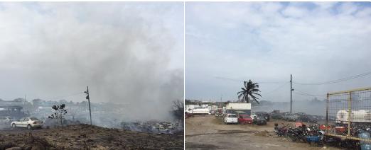 Incendio en  el corralón de El Coyol en Veracruz