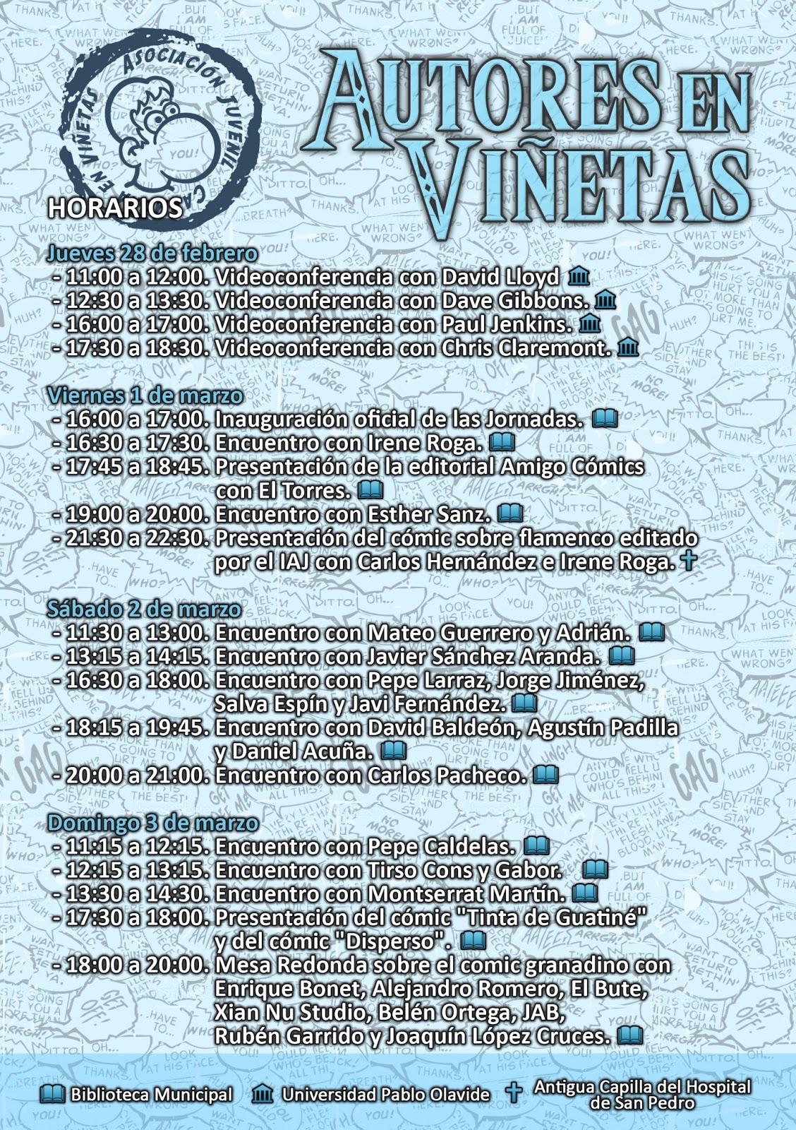 Horario Autores en Viñetas 2013