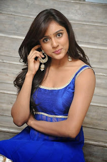 Actress Vithika Sheru Latest Pictures in Blue Salwar Kameez at Paddanandi Premalo Mari Movie First Look Launch 25