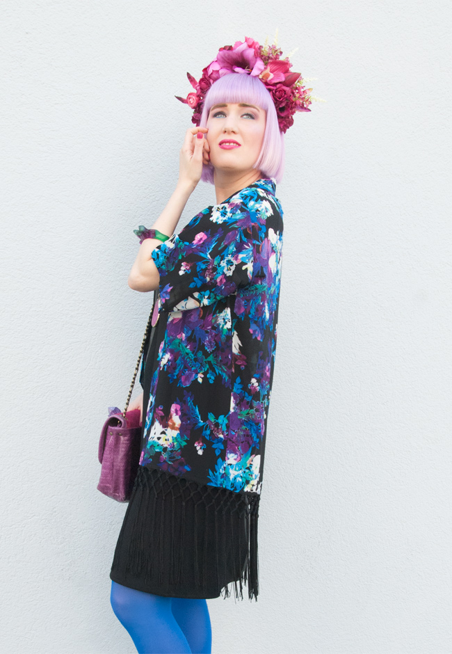 flower print kimono, flower headdress, Quiz Clothing