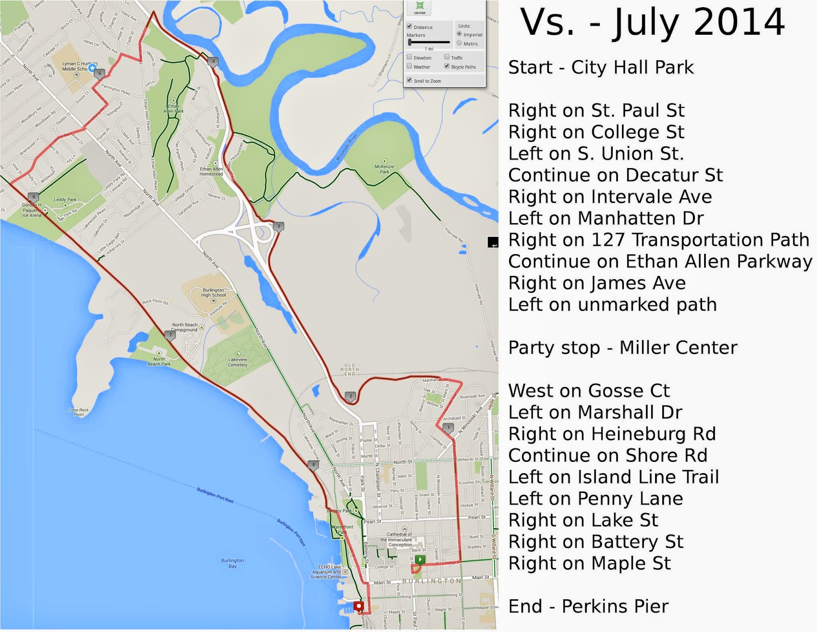 Vs. - July 2014 Route