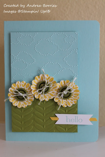 Card made with Betsy's Blossoms and Sweet Essentials stamp sets.