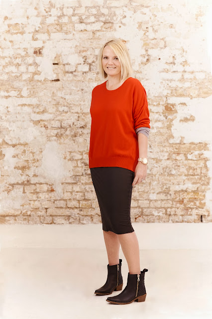 hush homewear, red jumper, tube skirt,