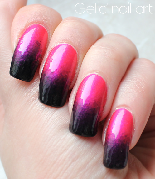 Gelic Nail Art 2015 31dc2015 Day 10 Gradient In Hot Pink And Black