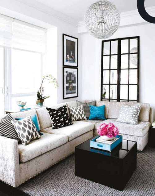 Imperfections for the love of black and white for Black white and blue living room ideas