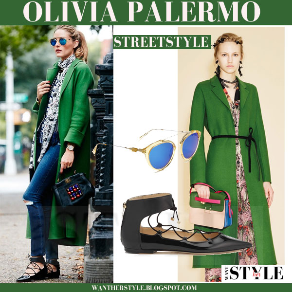 Olivia Palermo in long green valentino resort 2016 coat, skinny jeans and black lace up jimmy choo glisten flats what she wore streetstyle