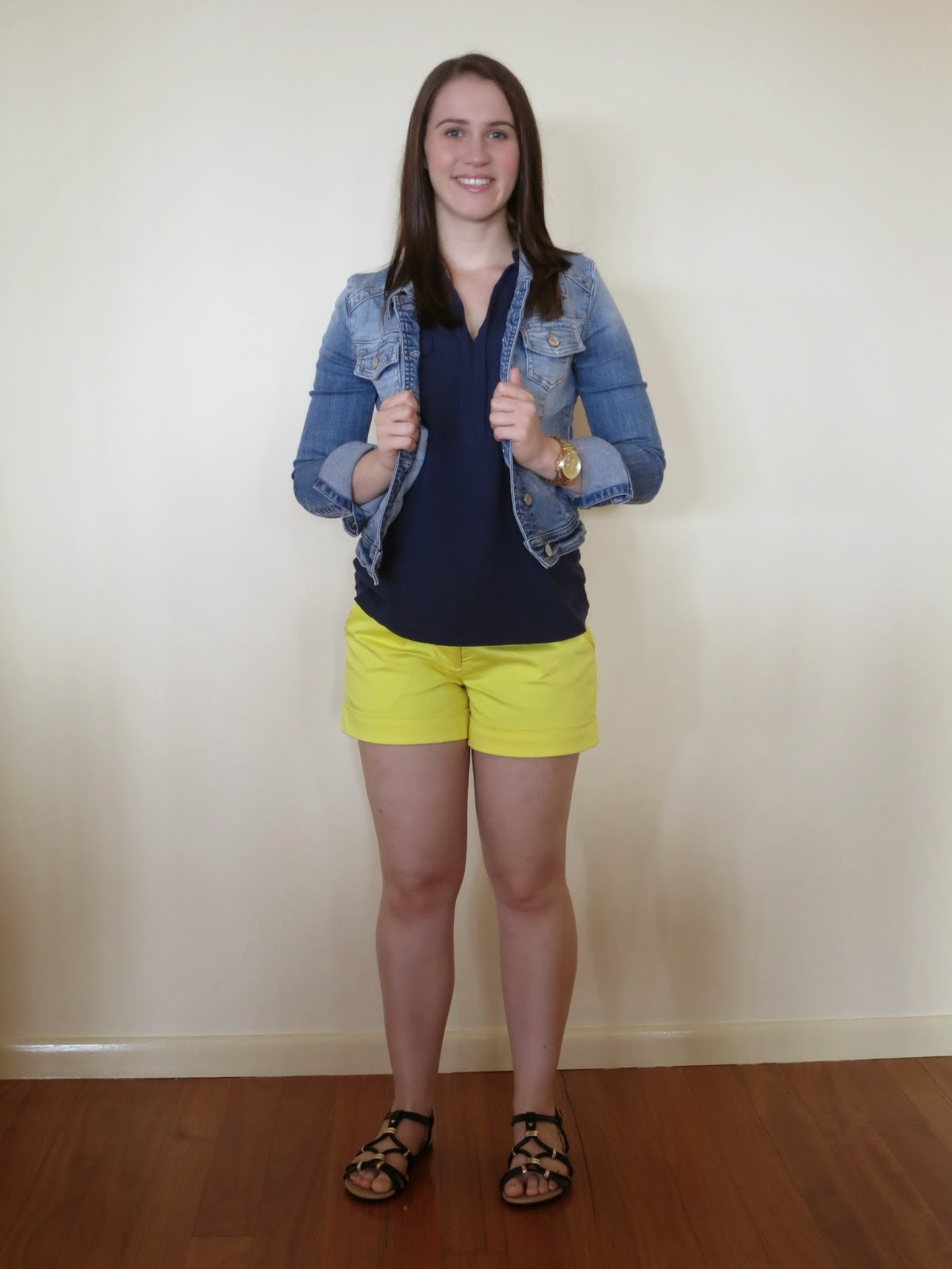 everyday outfit, petite outfit, short girl outfit, yellow shorts, navy tank top, denim jacket and shorts, black and gold sandals and bag, nautical outfit, summer outfit