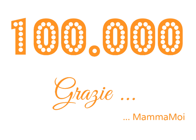 scritta arancione 100.000 Grazie da MammaMoi