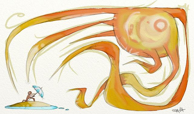 Gava gavavenezia satira vignette illustrazione caricatura fumetto ridere gavagnin marco illustratore disegno  caldo sole torrido giallo spiaggia infarto sudare ombrellone