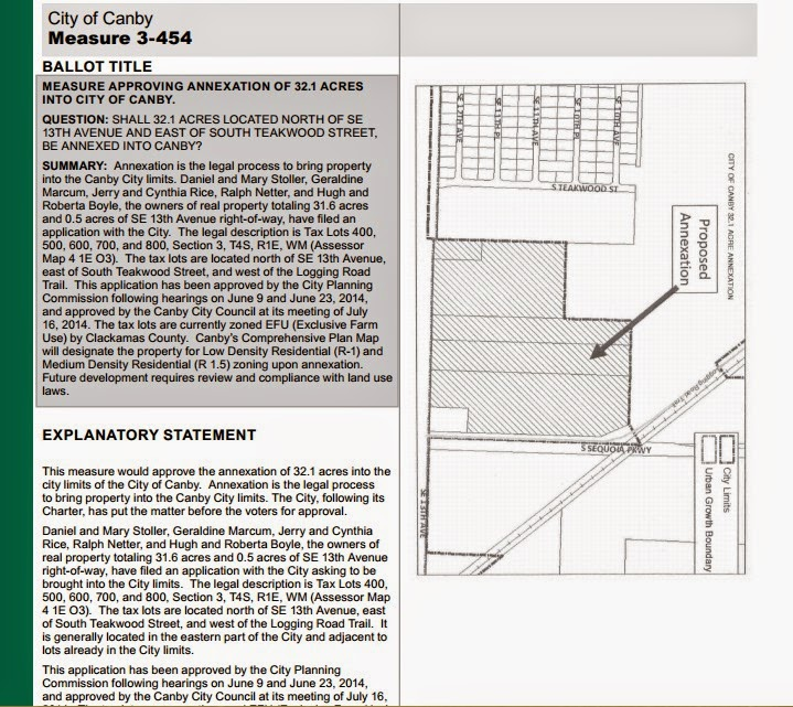 Canby Land Annexation 3-454 Election 2014
