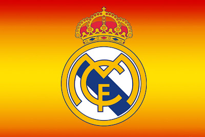 real madrid logo orange background